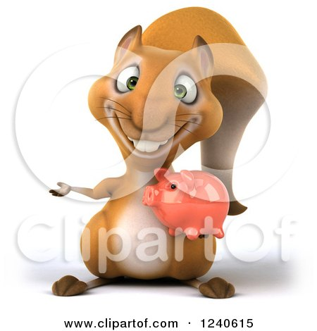 Clipart of a 3d Squirrel Presenting and Holding a Thumb up and Piggy Bank - Royalty Free Illustration by Julos