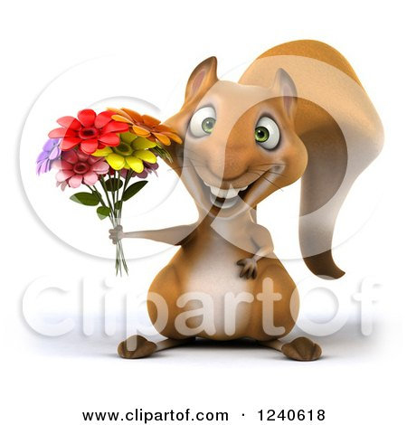 Clipart of a 3d Squirrel Holding a Bouquet of Flowers - Royalty Free Illustration by Julos
