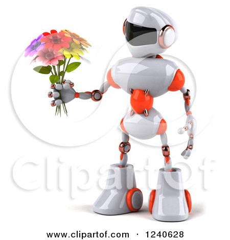 Clipart of a 3d White and Orange Robot Holding a Bouquet of Flowers - Royalty Free Illustration by Julos