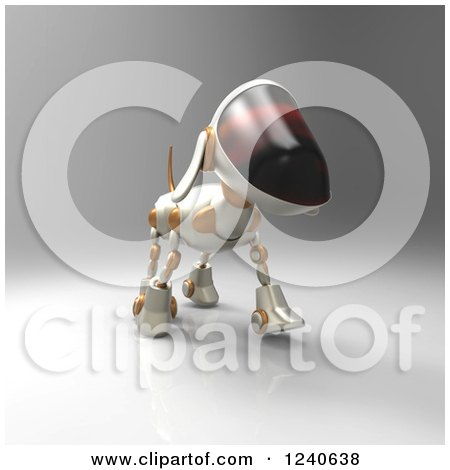 Clipart of a 3d Robot Dog Walking - Royalty Free Illustration by Julos