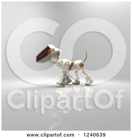 Clipart of a 3d Robot Dog Walking 3 - Royalty Free Illustration by Julos