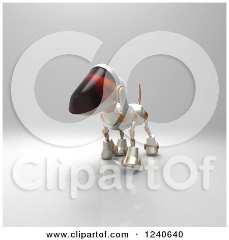 Clipart of a 3d Robot Dog Walking 4 - Royalty Free Illustration by Julos
