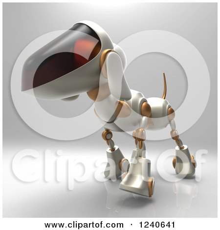Clipart of a 3d Robot Dog Walking 5 - Royalty Free Illustration by Julos