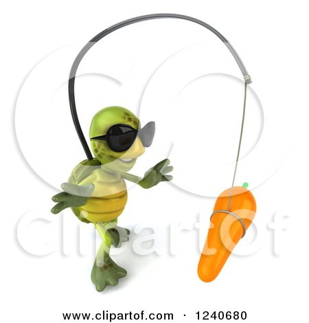 Clipart of a 3d Tortoise Wearing Sunglasses and Chasing a Carrot on a Stick 3 - Royalty Free Illustration by Julos