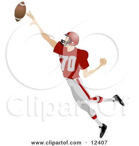 Male Football Player Athlete Jumping To Catch The Ball During A Game People Clipart Picture