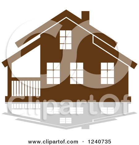 Clipart of a Brown Residential Home and Reflection 5 - Royalty Free Vector Illustration by Vector Tradition SM
