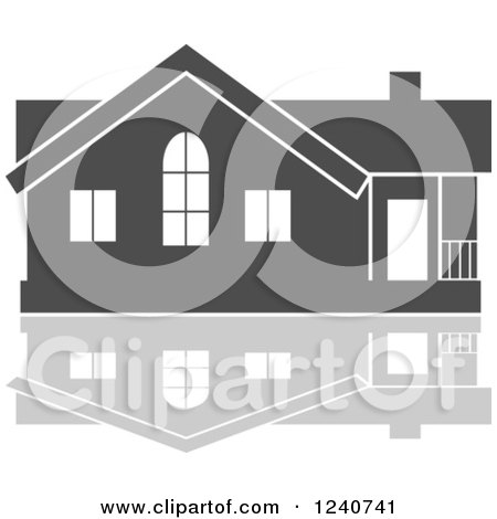 Clipart of a Gray Residential Home and Reflection - Royalty Free Vector Illustration by Vector Tradition SM