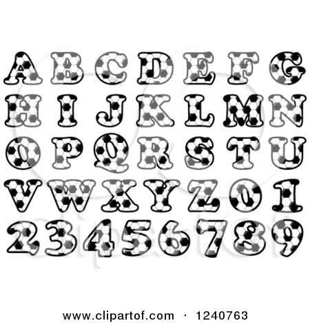 Clipart of Soccer Patterned Letters and Numbers - Royalty Free Vector Illustration by Vector Tradition SM