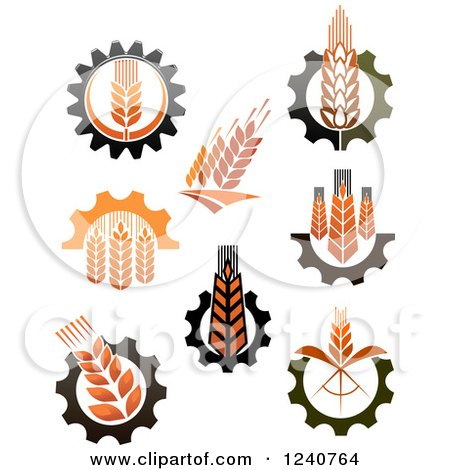 Clipart of Whole Grain Wheat and Gear Designs 2 - Royalty ...