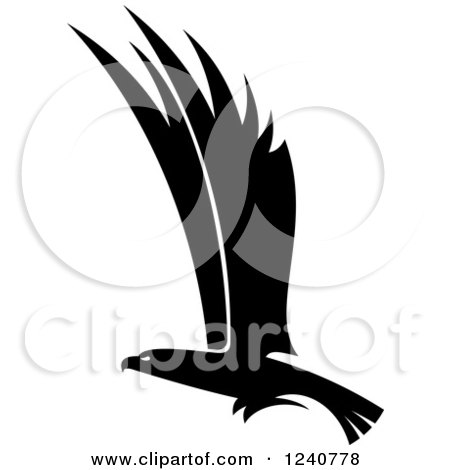 Clipart of a Black and White Eagle in Flight 5 - Royalty Free Vector Illustration by Vector Tradition SM