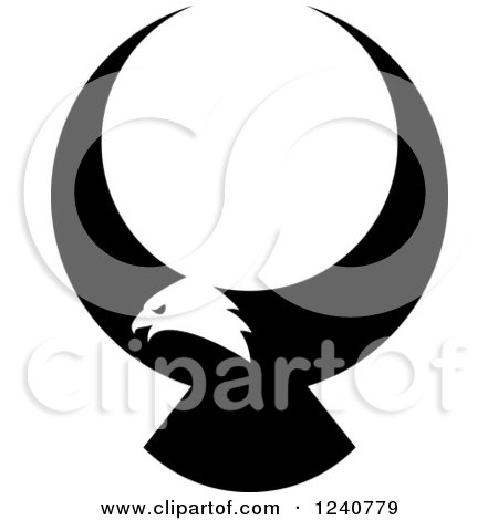 Clipart of a Black and White Bald Eagle in Flight - Royalty Free Vector Illustration by Vector Tradition SM