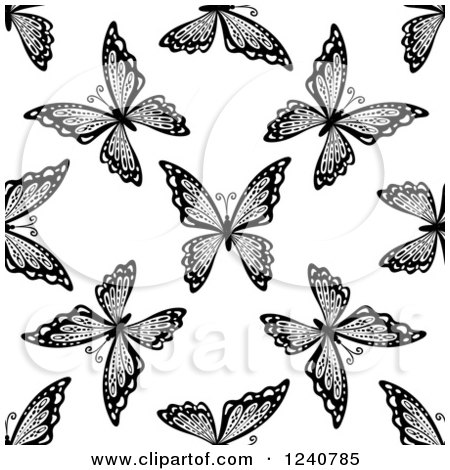 Clipart of a Seamless Black and White Butterfly Background Pattern 4 - Royalty Free Vector Illustration by Vector Tradition SM
