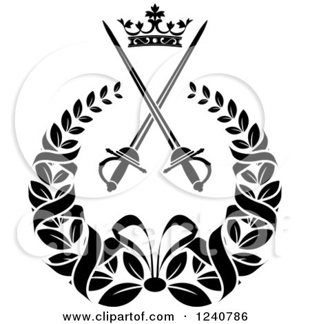 Clipart of a Black and White Crown and Crossed Swords in a Laurel Wreath 2 - Royalty Free Vector Illustration by Vector Tradition SM