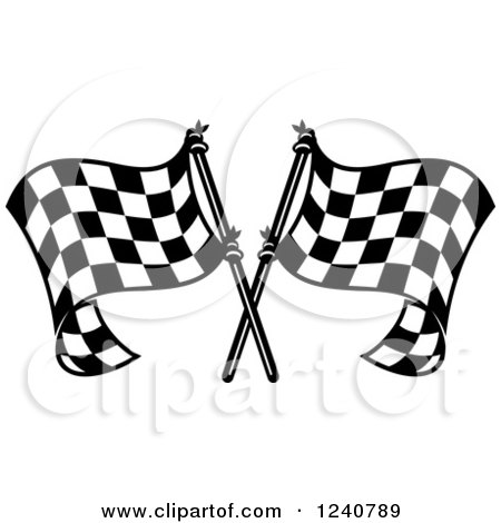 Clipart of a Black and White Crossed Racing Checkered Flags 3 - Royalty Free Vector Illustration by Vector Tradition SM