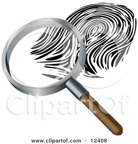 Magnifying Glass Inspecting a Fingerprint Clipart Illustration by AtStockIllustration