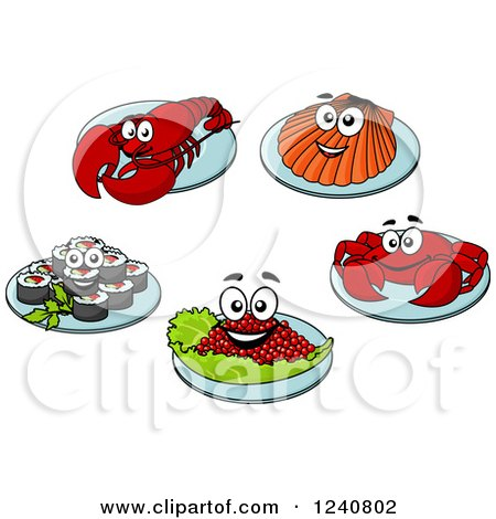 Clipart of Happy Seafood on Plates - Royalty Free Vector Illustration by Vector Tradition SM