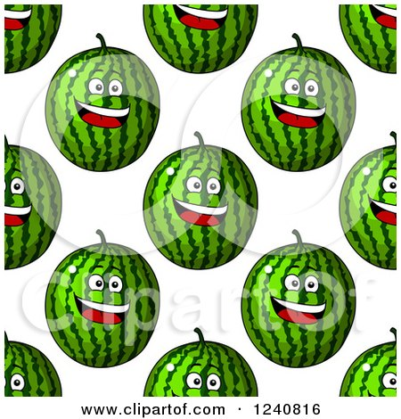 Clipart of a Seamless Background Pattern of Happy Watermelons 2 - Royalty Free Vector Illustration by Vector Tradition SM