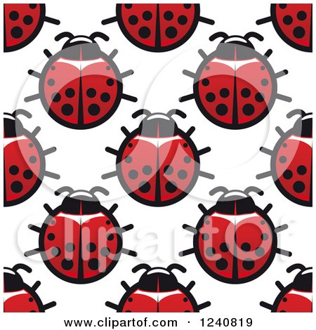 Clipart of a Seamless Background Pattern of Ladybugs - Royalty Free Vector Illustration by Vector Tradition SM