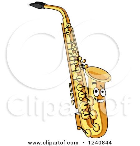 Clipart of a Happy Saxophone - Royalty Free Vector Illustration by ...