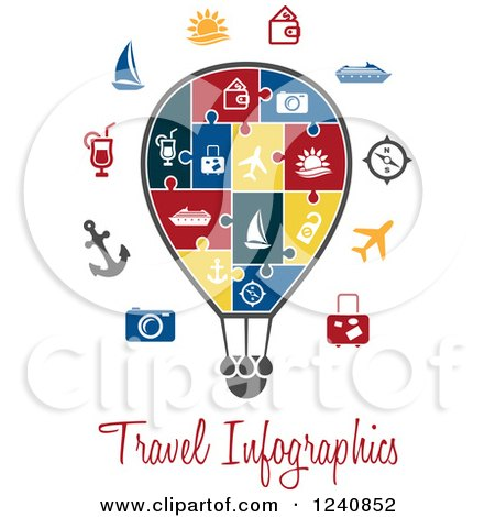 Clipart of a Travel Infographics Jigsaw Puzzle Hot Air Balloon - Royalty Free Vector Illustration by Vector Tradition SM