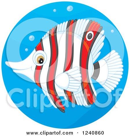 Clipart of a Striped Red and White Butterflyfish in a Water Circle - Royalty Free Vector Illustration by Alex Bannykh