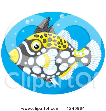 Clipart of a Clown Triggerfish in a Blue Oval - Royalty Free Vector Illustration by Alex Bannykh