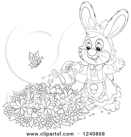 clipart of a black and white female bunny rabbit watering a flower