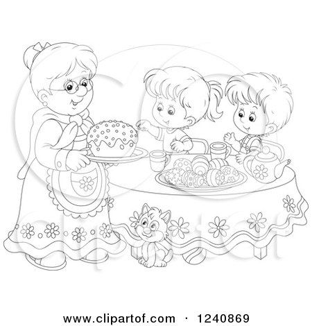 Clipart of a Black and White Granny Serving an Easter Cake to Children - Royalty Free Vector Illustration by Alex Bannykh