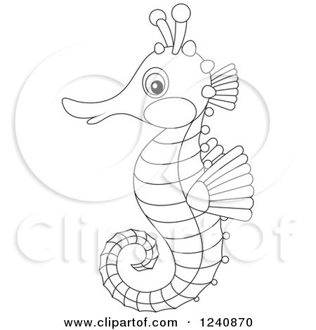 Clipart of a Cute Black and White Seahorse - Royalty Free Vector Illustration by Alex Bannykh