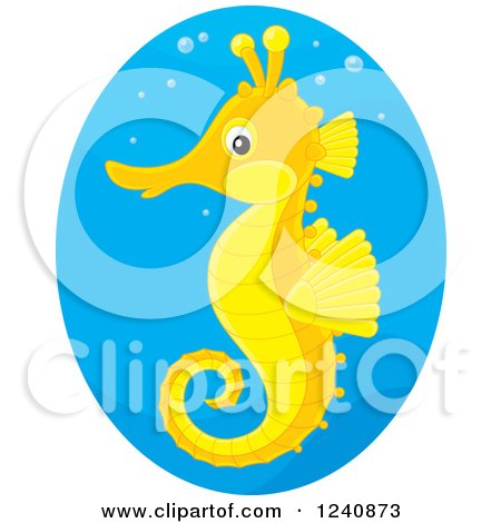 Clipart of a Cute Orange and Yellow Seahorse in a Blue Oval - Royalty Free Vector Illustration by Alex Bannykh