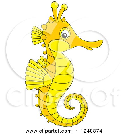Clipart of a Cute Orange and Yellow Seahorse - Royalty Free Vector Illustration by Alex Bannykh