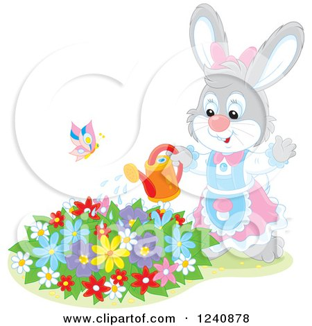 Clipart of a Female Bunny Rabbit Watering a Flower Garden - Royalty Free Vector Illustration by Alex Bannykh