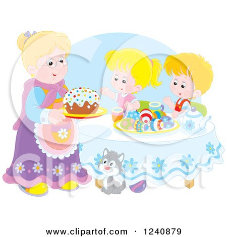 Clipart of a Granny Serving an Easter Cake to Children - Royalty Free Vector Illustration by Alex Bannykh