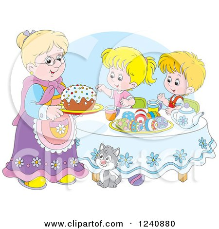 Clipart of a Caucasian Granny Serving an Easter Cake to Children - Royalty Free Vector Illustration by Alex Bannykh