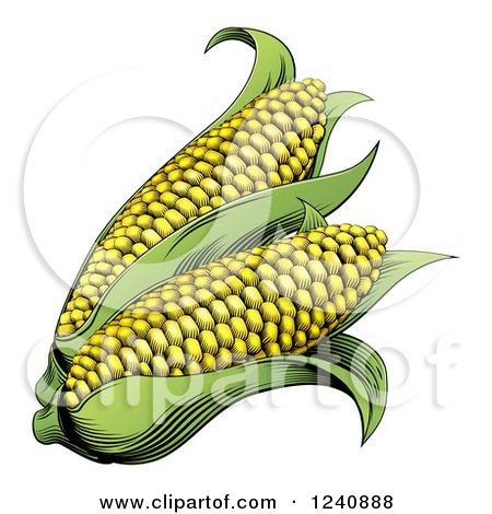 Clipart of Woodblock Corn - Royalty Free Vector Illustration by AtStockIllustration