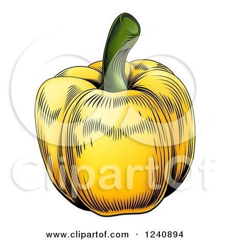 Clipart of a Woodblock Yellow Bell Pepper - Royalty Free Vector Illustration by AtStockIllustration