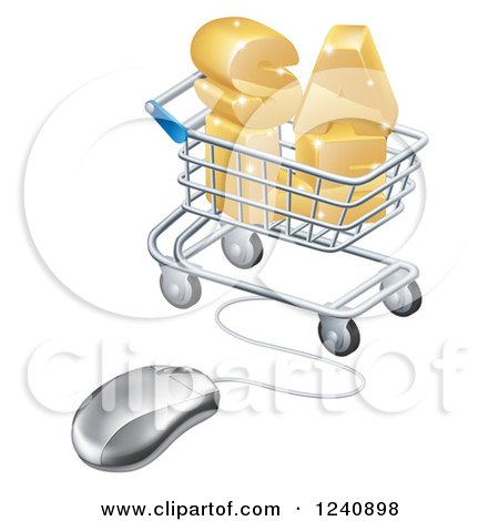 Clipart of a 3d Mouse Wired to a Shopping Cart with Golden SALE - Royalty Free Vector Illustration by AtStockIllustration