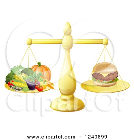 Clipart of a 3d Golden Scale Comparing a Cheeseburger to Produce - Royalty Free Vector Illustration by AtStockIllustration