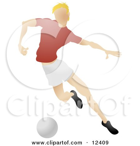 Blond Male Soccer Player Kicking A Ball During A Game Clipart Illustration