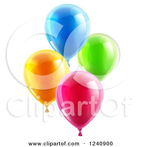 Clipart of 3d Colorful Party Balloons - Royalty Free Vector Illustration by AtStockIllustration