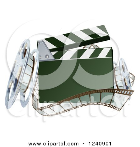 Clipart of a 3d Clapper Board with Film and Reels - Royalty Free Vector Illustration by AtStockIllustration