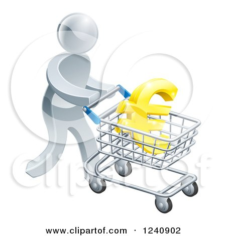 Clipart of a 3d Silver Man Pushing a Euro in a Shopping Cart - Royalty Free Vector Illustration by AtStockIllustration