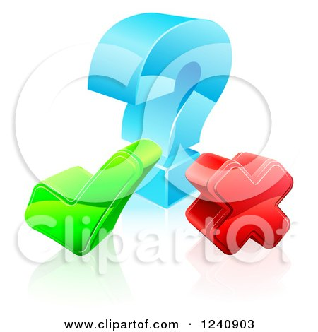 Clipart of a 3d Question Mark with a Check and X - Royalty Free Vector Illustration by AtStockIllustration