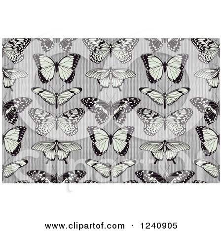 Clipart of a Seamless Background Pattern of Butterflies on Stripes - Royalty Free Vector Illustration by AtStockIllustration