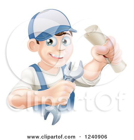 Clipart of a Happy Worker Graduate Holding a Wrench and Certificate - Royalty Free Vector Illustration by AtStockIllustration
