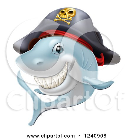 Clipart of a Grinning Pirate Shark - Royalty Free Vector Illustration by AtStockIllustration
