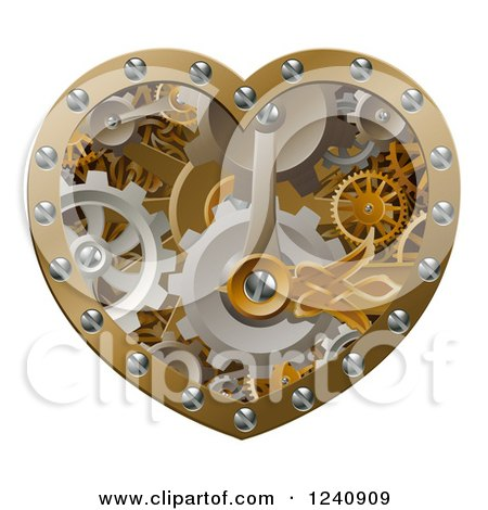 Clipart of a 3d Steampunk Heart of Gears - Royalty Free Vector Illustration by AtStockIllustration