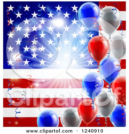 Clipart of a Bright Burst over an American Flag and Fourth of July Balloons - Royalty Free Vector Illustration by AtStockIllustration