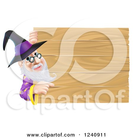 Clipart of a Wizard Looking Around and Pointing at a Wooden Sign - Royalty Free Vector Illustration by AtStockIllustration