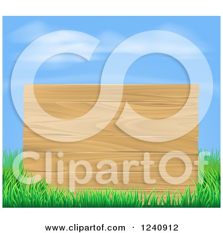 Clipart of a Wooden Sign and Grass Under a Blue Sky - Royalty Free Vector Illustration by AtStockIllustration
